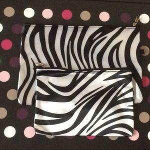 NWOT Zebra Cosmetic Bags